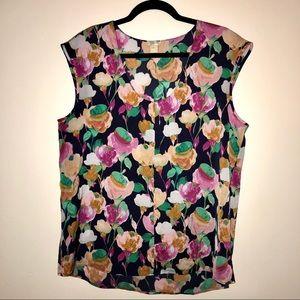 J.CREW floral cap sleeve blouse